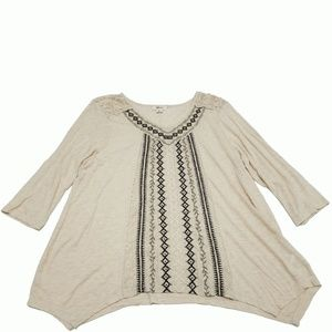 Style Co Embroidered Handkerchief-Hem Top Aerial